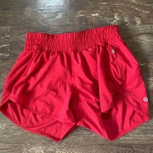Lululemon red running shorts